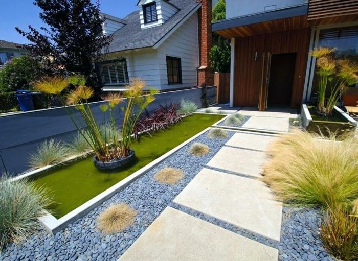 gravier pour allée, arbustes, plantes tropicales, grandes dalles de jardin, amenagement exterieur minimaliste