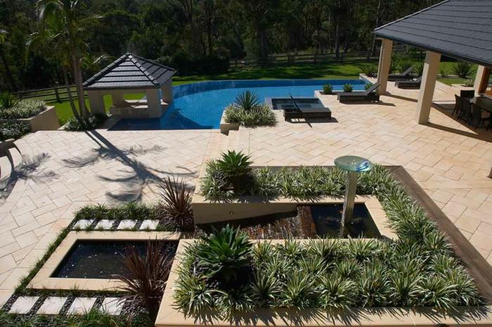 aménagement terrasse et jardin photo, zones plantées, terrasse, piscine, abris de jardin, gazon