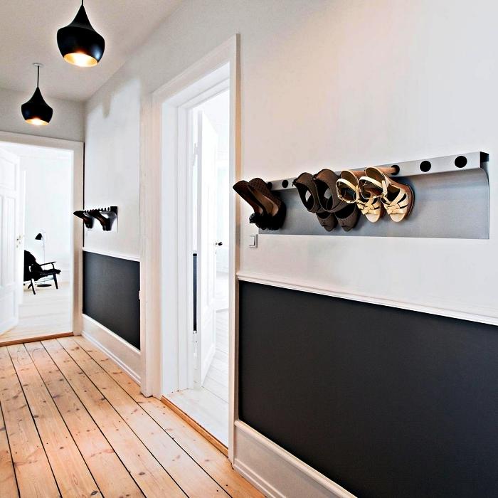 rangement chaussure mural à installer dans l'entrée pour ranger ses talons, petit meuble d'entrée gain-de-place pour ranger ses chaussures