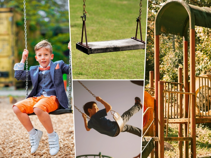 choix de matériaux portique enfant, modèle de balançoire pour jardin en bois et métal, idée jeux de plein air pour jardin