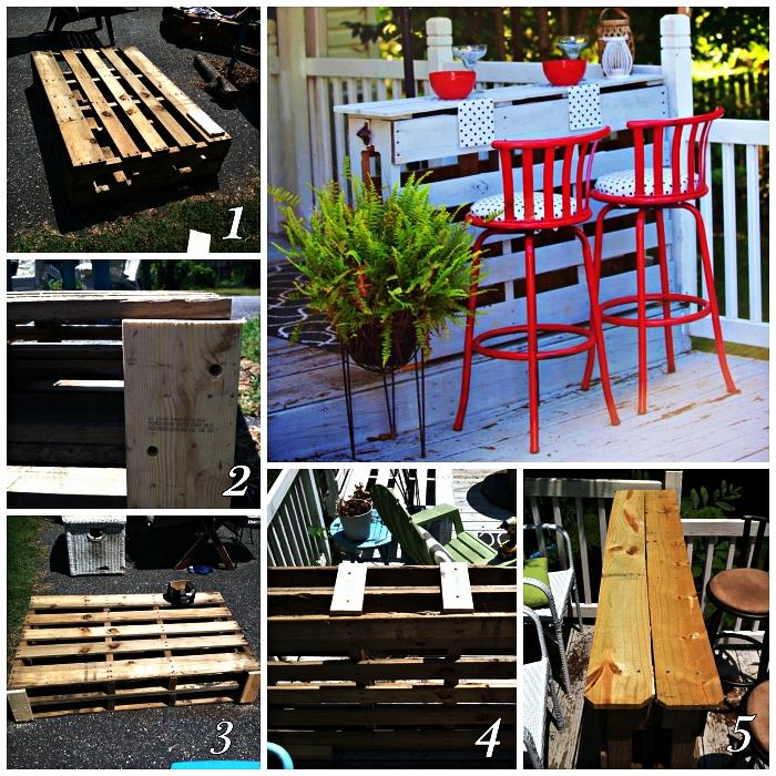 comment réaliser un bar à boissons avec palettes récup, idée bricolage bois pour aménager un bar de jardin ou terrasse