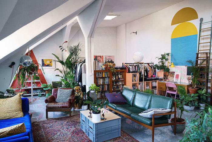 idee comment amenager un studio, canapé bois à coussins verts et autre canapé bleu, coin bureau rangement chaussures original, tapis oriental, deco jungle en couleurs et plantes