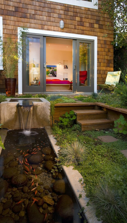 petit jardin japonais, lac décoratif, carpe koi, pas d escalier, chaise, fontaine de piscine, maison
