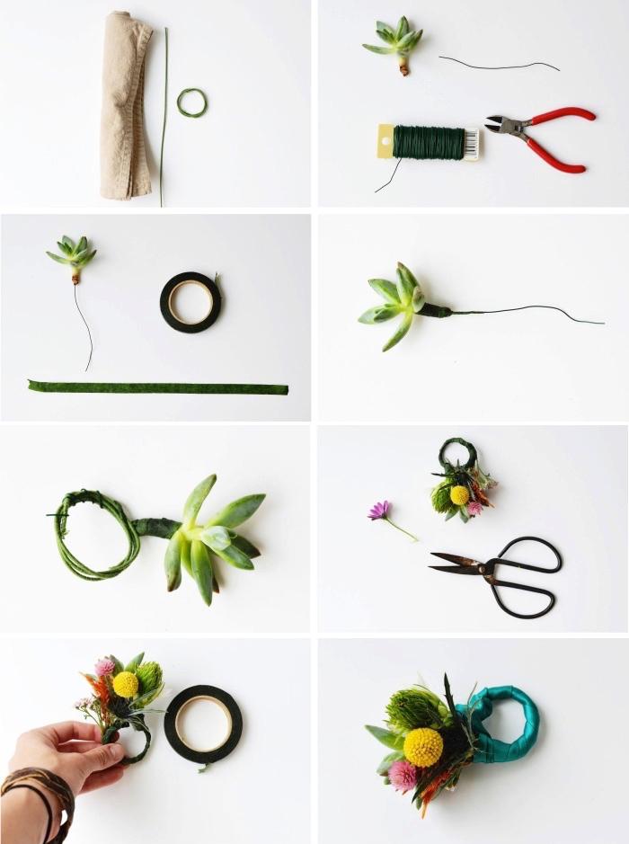 anneau de serviette avec fil floral, succulentes et fleurs, décoration table jolie et créative à fabriquer