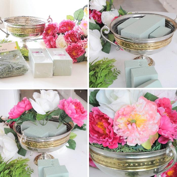 bol vintage doré et blanc, éponge floral, fleurs fraîches arrangées, deco de table anniversaire