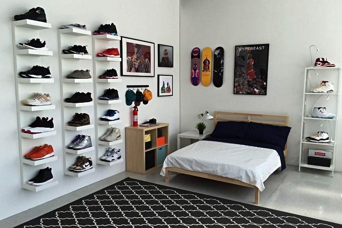 solution gain de place avec meuble chaussures ikea, étagères murales lack pour ranger ses paires de baskets favorites