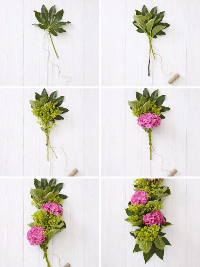 guirlande de fleurs et de feuilles, deco centre de table frais, alchemille, hortensia
