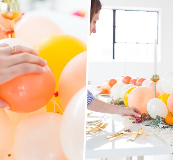 ballons gonflés pour une décoration table festive, ustensiles couleur or, table blanche, ballons couleurs pastel