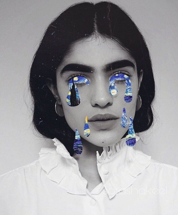 Goutes d'eau larmes et yeux colorés de la peinture nuit etoilee collés sur un portrait de femme photo noir et blanc, blanche chemise femme grands sourcils