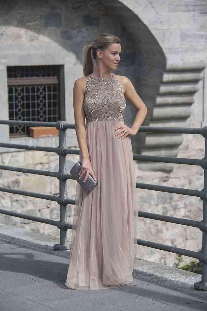 Rose pale robe longue, femme robe de soirée courte chic, robe de ceremonie à la mode
