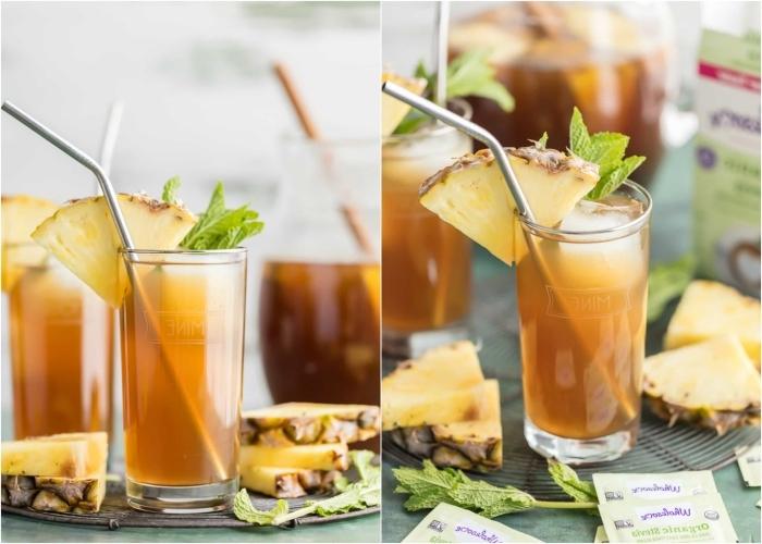 recette de thé glacé exotique à ananas, comment faire du thé à la menthe, idée boisson rafraîchissante au thé vert