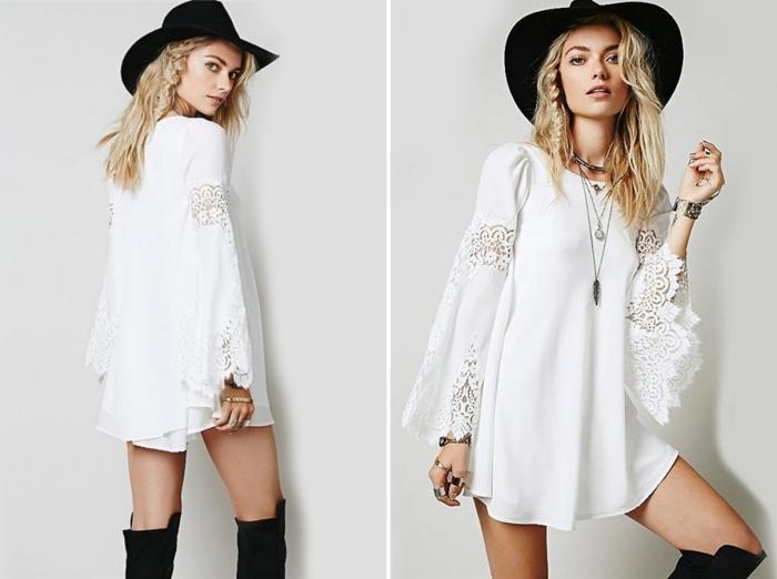 comment porter une robe courte blanche de style bohème, idée robe bohème chic en blanc courte avec manches brodées