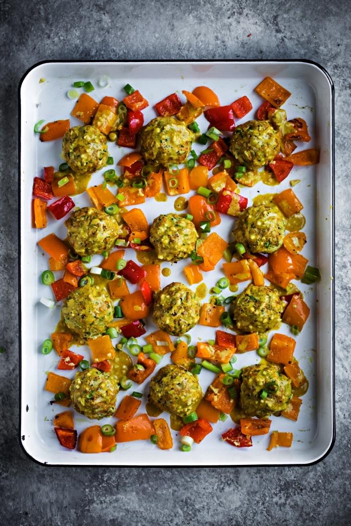 boulettes de poulet aux courgettes et aux légumes, recette de boulettes au four, idée repas simple de tous les jours