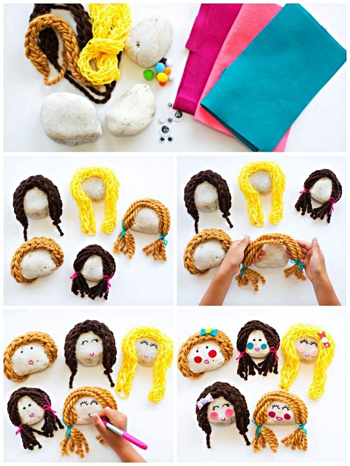 bricolage avec galets pour tout petits, faire des poupées en galets avec des cheveux en laine, activité ludique avec galets décorés