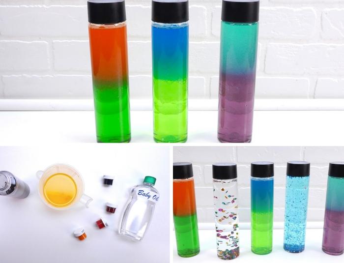 comment faire un objet montessori bébé bicolore, idée bouteille en verre remplie de l'eau colorée et de paillettes