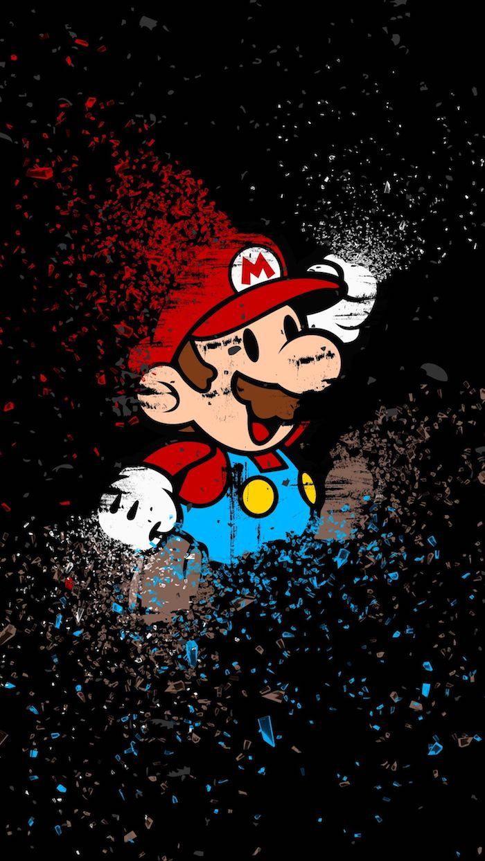 Super Mario fond d'écran iPhone à fond noir qui peut aussi faire un tatouage swag, image swag, avoir du style
