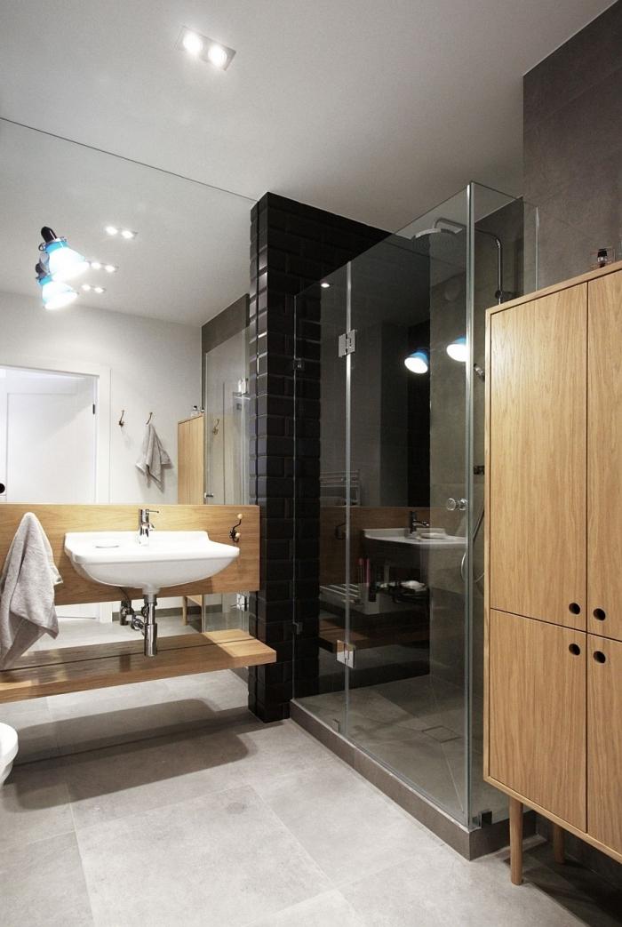 agencement salle de bain avec cabine de douche, déco petite salle de bain aux murs blancs avec pan de mur en noir