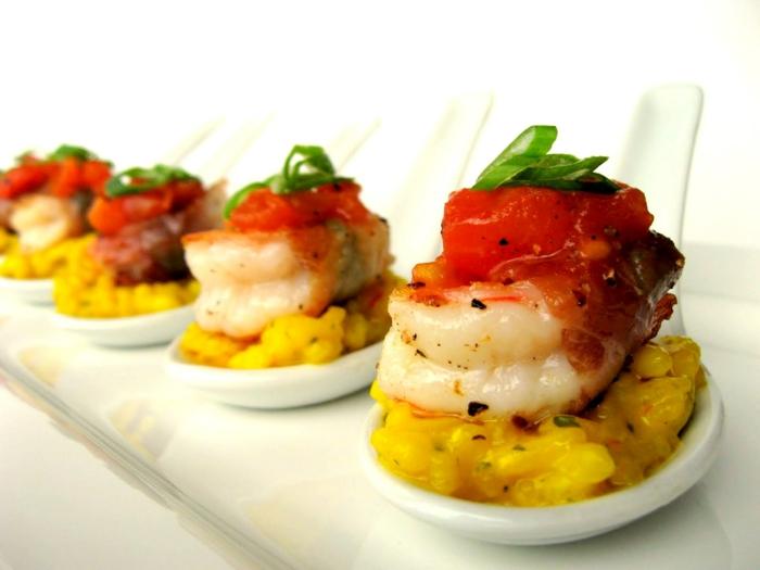 hors d oeuvre canapé crevettes et mais, recette apero dinatoire, bouchées légères originales