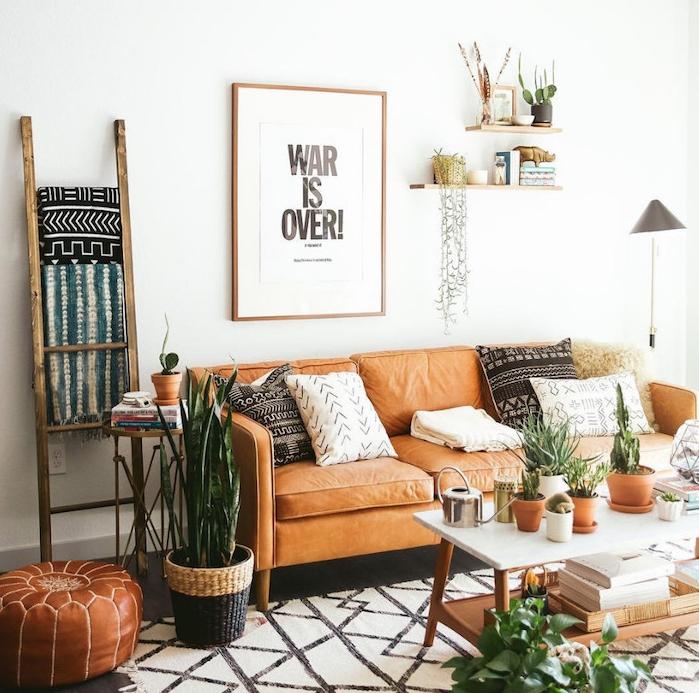 deco ethnique avec canapé en cuir, coussins azteque, tapis noir et blanc à triangles, petits plantes en pot sur la table basse de salon, sansevière en cache pot tressé, pouf cuir orientale, echelle decorative