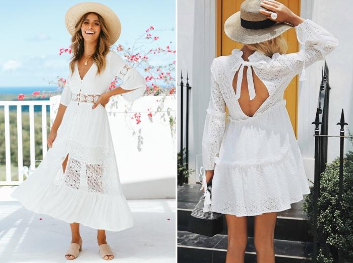 robe d'été longue ceinturée avec manches courtes fluide, modèle de robe courte aux manches longues avec dos ouvert noué