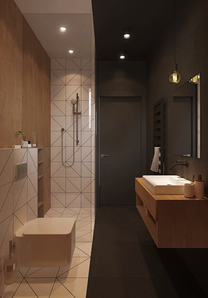 idée comment aménager une petite salle de bain en longueur, exemple de meuble bois salle de bain moderne