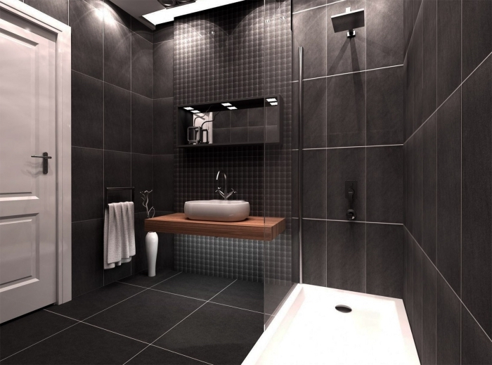 modèle de salle de bain noire avec cabine de douche, idée éclairage led salle de bain, meuble bois salle de bain