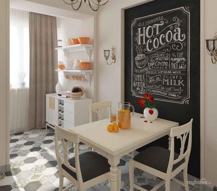 Ardoise mur dans la cuisine autour le coin à manger, petite table et chaises pour le petit déjeuner, cuisine année 50, cuisine rétro, déco à faire soi même
