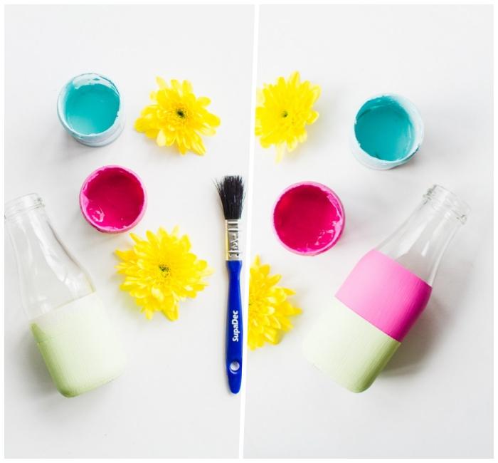 création d'un joli vase pour la table de fête, deco de table anniversaire, brosse et peintures acryliques