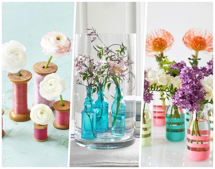 comment créer sa deco table avec bobines, bouteilles turquoises et bouteilles en verre, vases diy