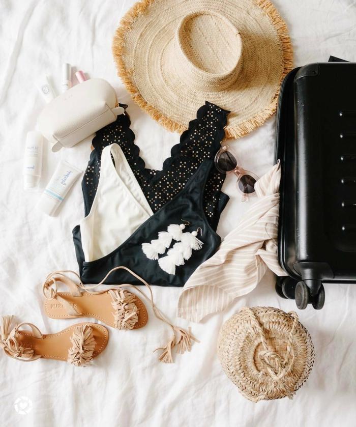 idée de tenue de plage, maillot de bain noir, sandales beiges, sac panier, valise noire roulettes, chapeau large bord en paille