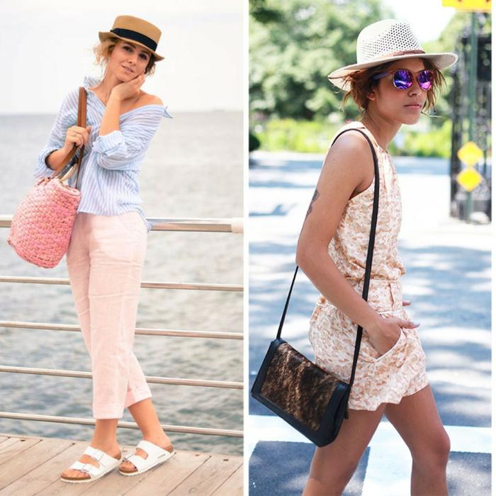 idées pour votre stylé d été, pantalon rose, sandales plates, sac panier rose, chapeau panama, combishort