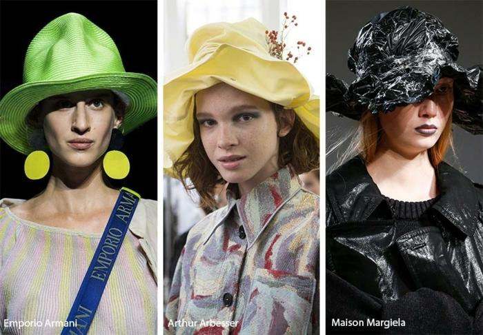chapeau bucket différentes couleurs, défilé de mode, variantes du chapeau de seau, chapeaux forme déstructurée