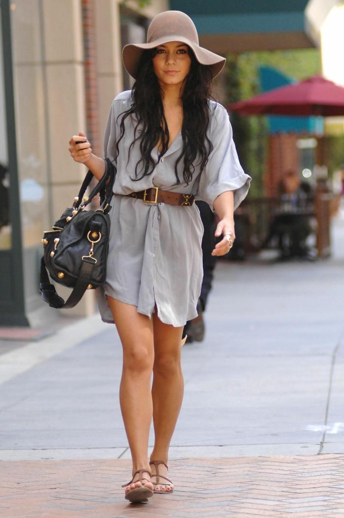 sandales plates, robe chemise, ceinture marron, chapeau capeline femme en feutre, chapeau couleur chocolat