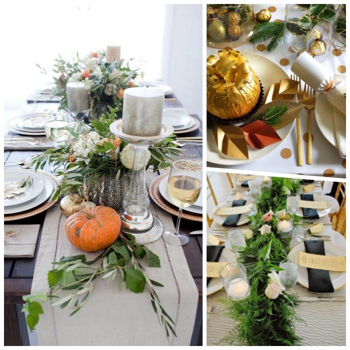 chemin de table en toile de jute, citrouille, feuilles fraiches, bougies métallisées, décoration table