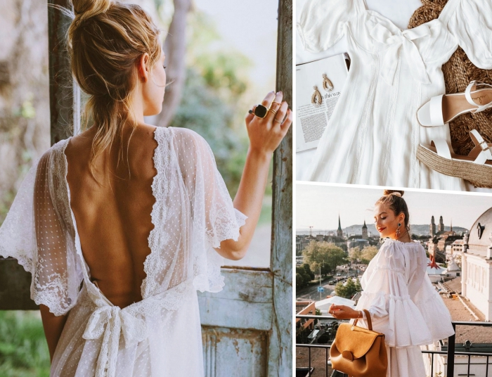 exemple de robe longue été avec manches en dentelle motifs polka dots et dos ouvert à effet papillon, comment assortir ses vêtements femme
