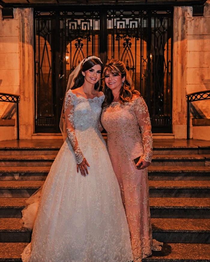robe de soirée pour mariage avec doublure en dentelle et manches longues, robe de cérémonie pour mère de la mariée