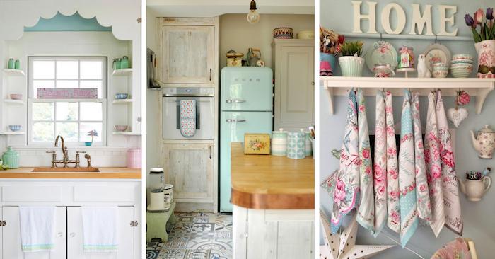Trois idées cuisine shabby chic, déco cuisine formica, deco vintage cuisine tendance 2019, les frigos aux couleurs pastel de Smeg marque vintage trop cool
