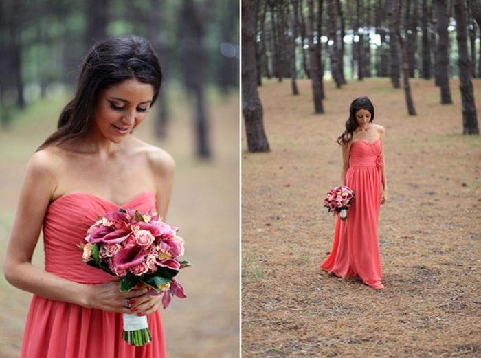 Robe longue rose bustier, robe habillée, robe de soirée chic, idée robe mariage invité, bouquet mariage