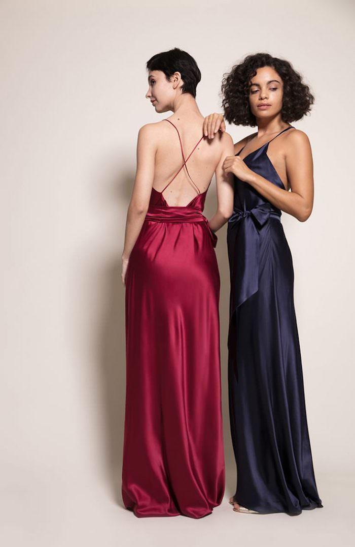 Longues robes satin, robe de soirée chic, porter une robe femme habillée dos nu avec bretelles minces