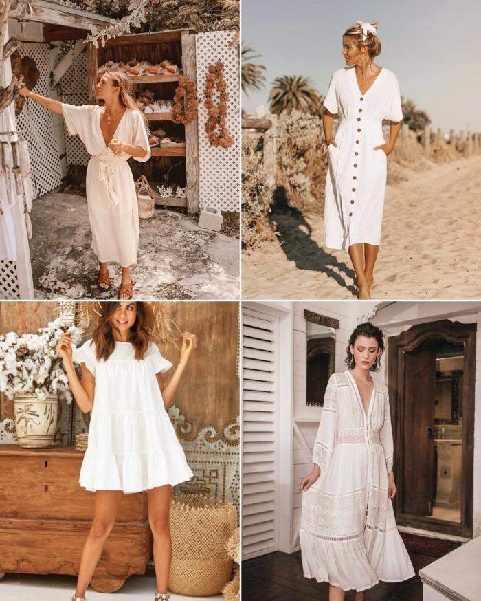 quelle coiffure avec une robe longue blanche, modèle de robe courte fluide avec manche courte, robe bohème longue avec boutons
