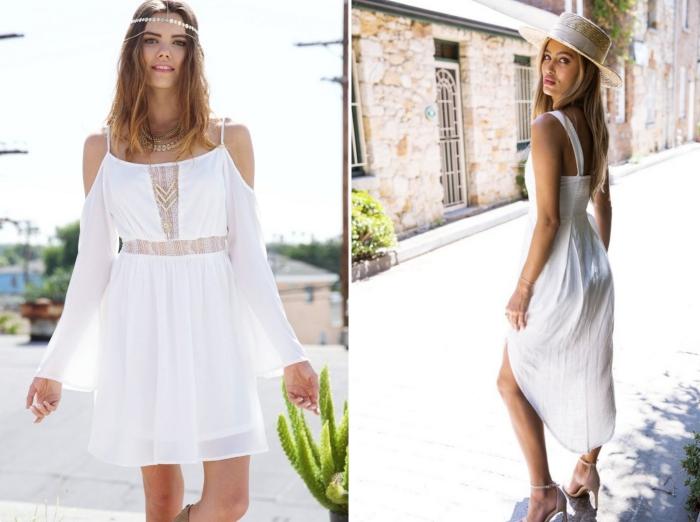 mode femme estivale avec robe longue blanche, modèle de robe courte aux manches longues et épaules dénudées