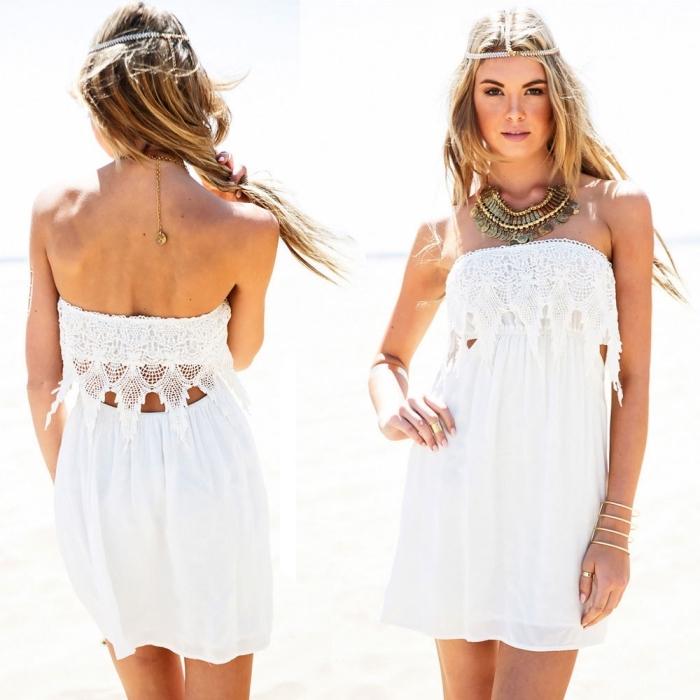 quels vêtements style hippie chic porter sur la plage, modèle de robe courte fluide avec détails en dentelle sur le bustier