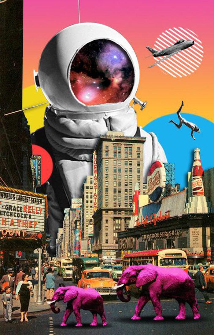 Astronaute collage éléphants bleus, image de fille, photo swag, meuf trop belle boulevard new yorkais
