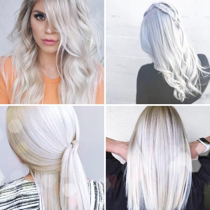 comment coiffer les cheveux longs lisses, idée coiffure facile aux cheveux mi attachés de style viking, coloration avec blond polaire meche