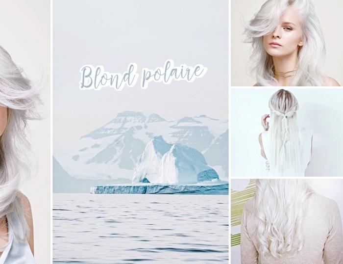 exemple de balayage blond polaire sur cheveux de base châtain foncé, technique de coloration tendance 2019