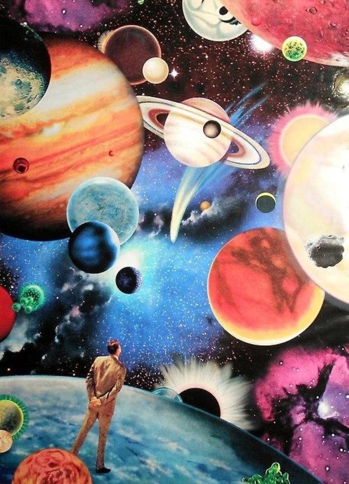 Choisir un dessin coloré image swag, collage swag d'images galaxie et un homme en costume, image de fond d'écran swag
