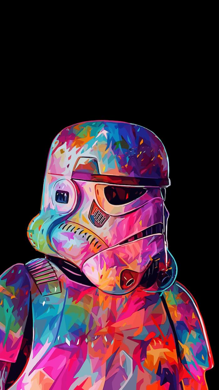 Star Wars stormtrooper coloré fond d'écran noir iphone, photo swag, image de personne swag 2019 tendances