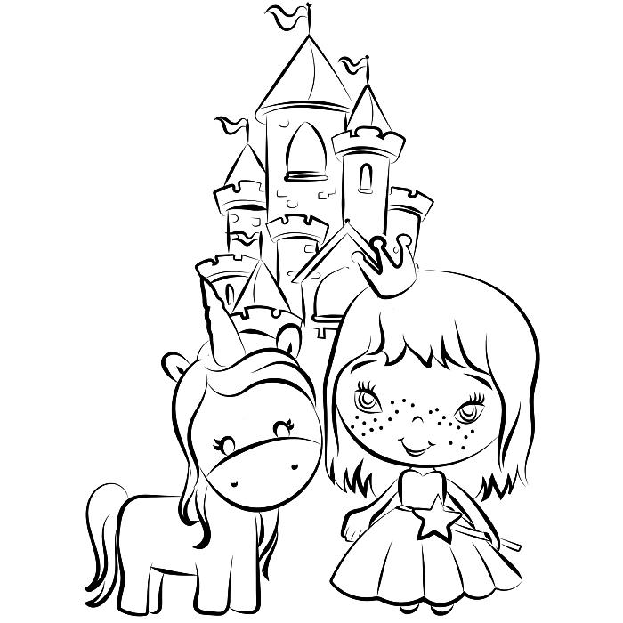 des pages à colorier gratuites, dessin de coloriage princesse, chateau et licorne, coloriage maternelle pour fille