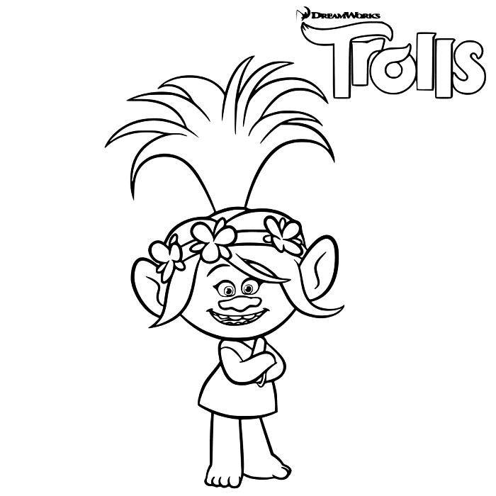 coloriage princesse poppy du dessin animé les trolls, dessin gratuit à colorier princesse poppy