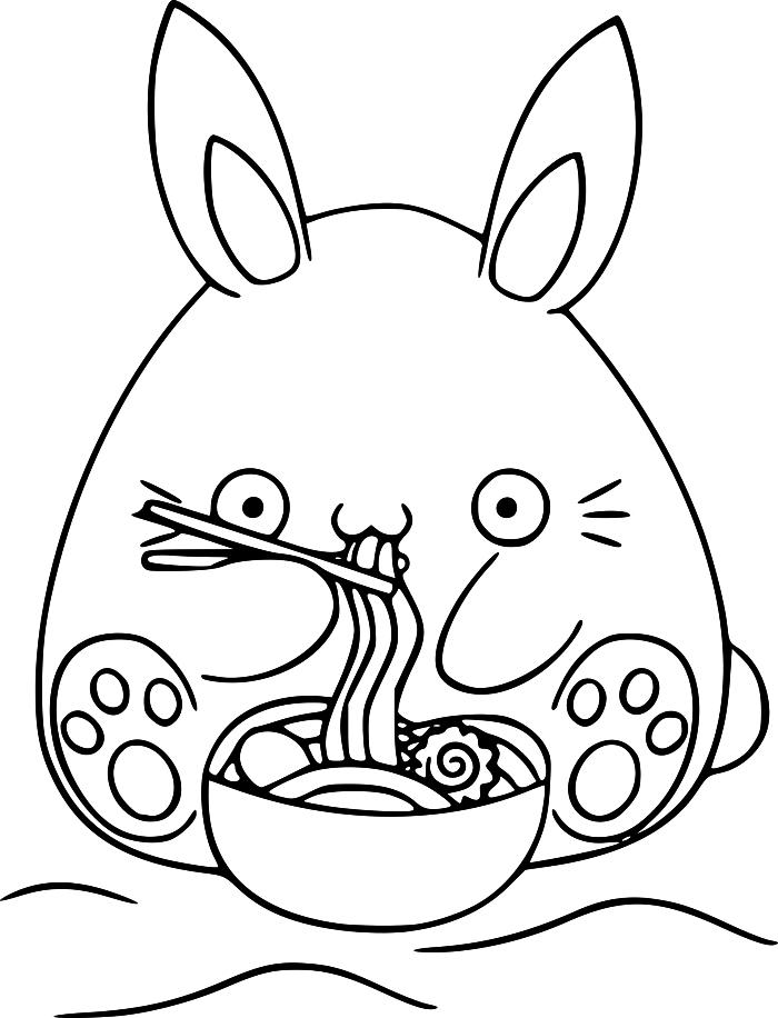 dessin pour coloriage maternelle personnage kawaii et un bol de ramen, activité de coloriage facile et amusante
